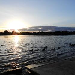 zonsondergang aan de maas in Arcen