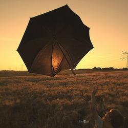 Look, a flying umbrella!