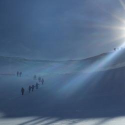 Bergschrund en graat naar top Castor