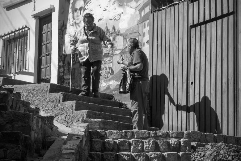 Muurschildering - In Valparaíso vlakbij Santiago de Chile zijn alle straten beschilderd, de graffiti is daar een kunstvorm in plaats van vandalisme. D