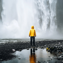 In front of Skogafoss