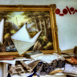 the painting & plastic bag