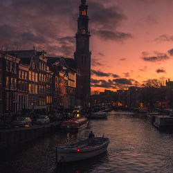 Zonsondergang Prinsengracht, Amsterdam!