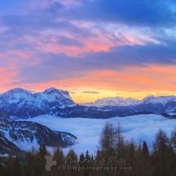 Zonsondergang in de Dolomieten panorama