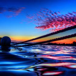 zonsondergang over het water