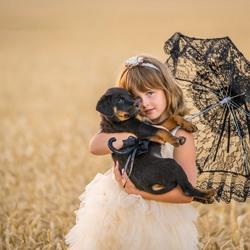 Janina en haar puppy