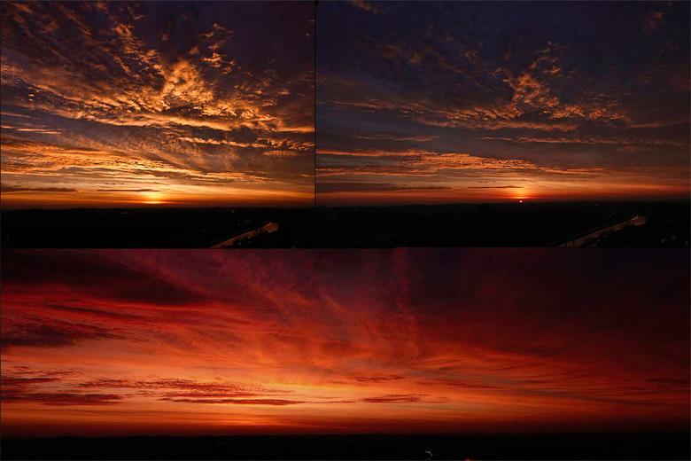 spectaculaire zonsopkomstmomenten.... - gistermorgen.... fantastische luchten, drie foto's van een lucht die elk moment veranderde en een genot w