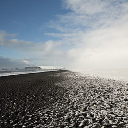 Black Beach after a snowstorm