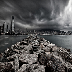 Hong Kong in zwartwit.