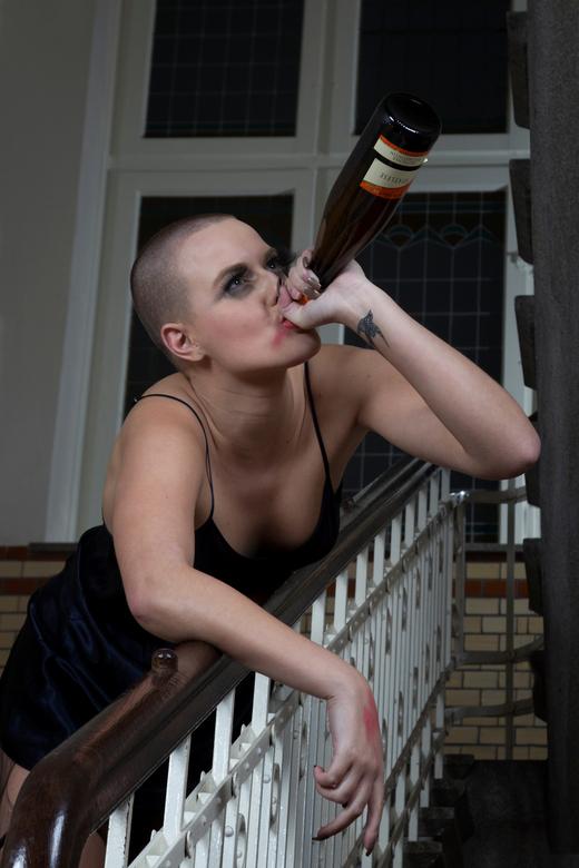 &quot; My and my bottle ! &quot; - Model: Nadine<br /> <br /> Shoot in oude kerk-school in Uden.