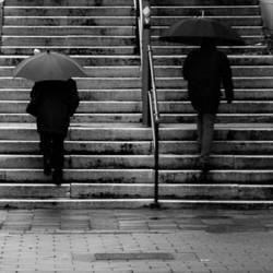 zwart wit op een regendag