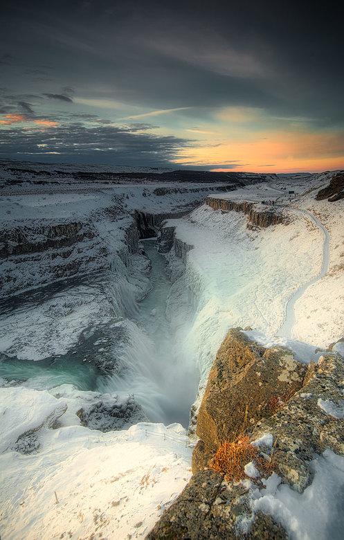 Bevroren waterval - Gulfoss , in November