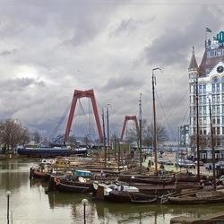 Bewerking: Witte huis, Willemsbrug en Haven in Rotterdam