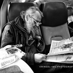old man and his newspaper