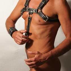 Male in body harness
