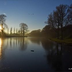 zonsondergang in het park