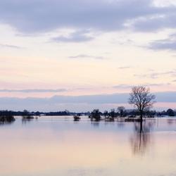 Zonsondergang bij hoog water in  Herxen