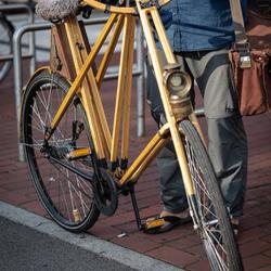fiets   groten deels hout en de meeste vormen in een driehoek opgebouwd