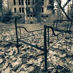 Verlaten psychiatrisch ziekenhuis.