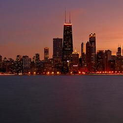 Zonsondergang boven Chicago.