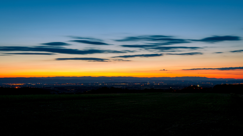 Zonsondergang in de de Rhone vallei