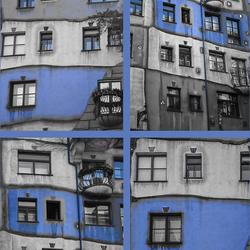 Collage Blauw Hunderdwasserhaus