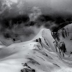 Sneeuwstorm boven Samnaun/Ischgl