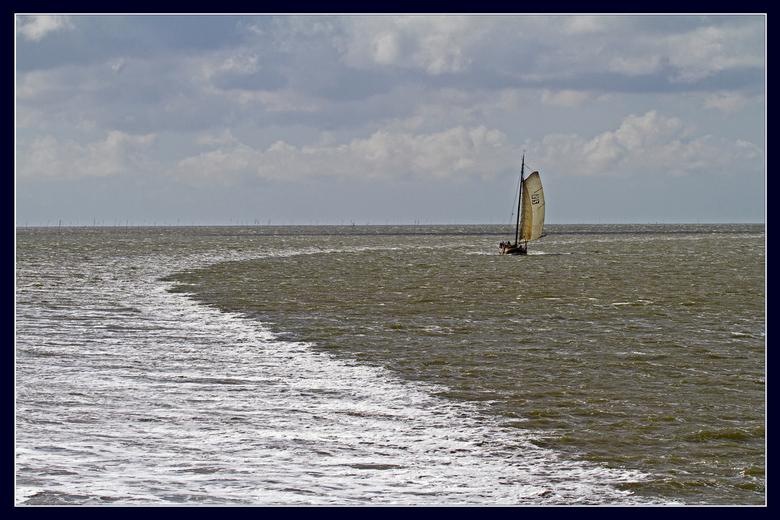 zeilboot 2 - Zeilboot naast het spoor van de veerboot.