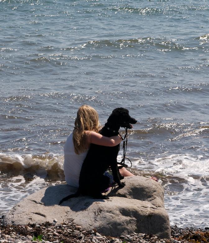Even afkoelen - Mijn dochter Lina en een van onze honden, Loes. Een warme vriendschap op een warme dag in Denemarken.