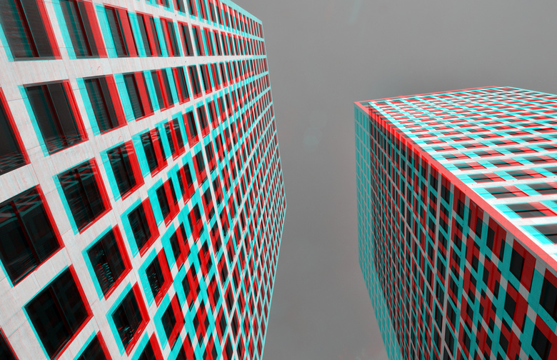 Lee Towers Rotterdam 3D anaglyph B&amp;W - Lee Towers Rotterdam anaglyph B&amp;W<br /> 3D stereo<br /> D7000