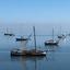 Schepen op de Waddenzee bij Vlieland