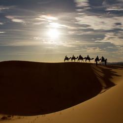 Ondergaande zon in Marokko