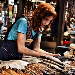 Selling dried fish
