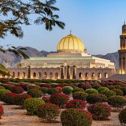 Moskee in avondlicht