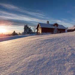 Zonsondergang in Noorwegen