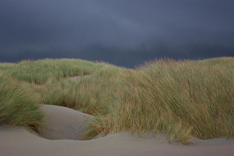 het is nog droog - Op het strand was het droog terwijl er in de binnenlanden veel donkere luchten voorbij kwamen.
