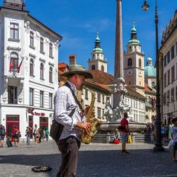 Straatmuziekant in Ljubljana Slovenie
