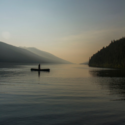 Bowron Lakes - Casper canoeing Isaac Lake at campsite 26 (2)