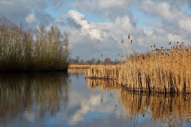Rivier landschap in de winter - Voor het eerst met mijn Nikon D3300 op pad nam ik deze foto van dit prachtige Hollandse rivier landschap.<br /> <br /