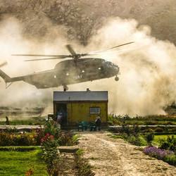 Helikopter hoog contrast beeld