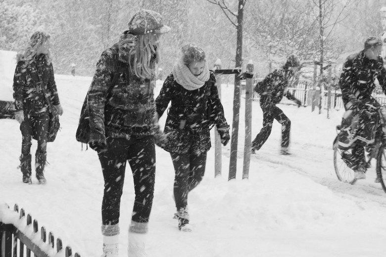 Sneeuwstorm - Scholieren die snel naar huis lopen, rennen en fietsen tijdens de eerste sneeuw aan het eind van 2010.<br /> <br /> Ik ben een groentj