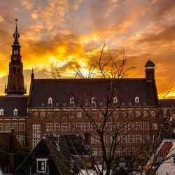 Stadhuis leiden in de vroege avond