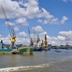 De Waalhaven gezien vanaf de Nieuwe Maas.
