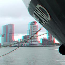 Uitzicht op Kop van Zuid Rotterdam vanaf Parkkade in 3D