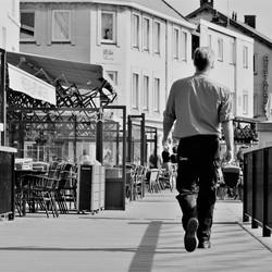 Walking down the street