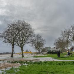 Hoogwater bij de Veerpoort te Schoonhoven