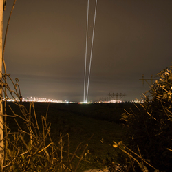 Airplane taking off by night