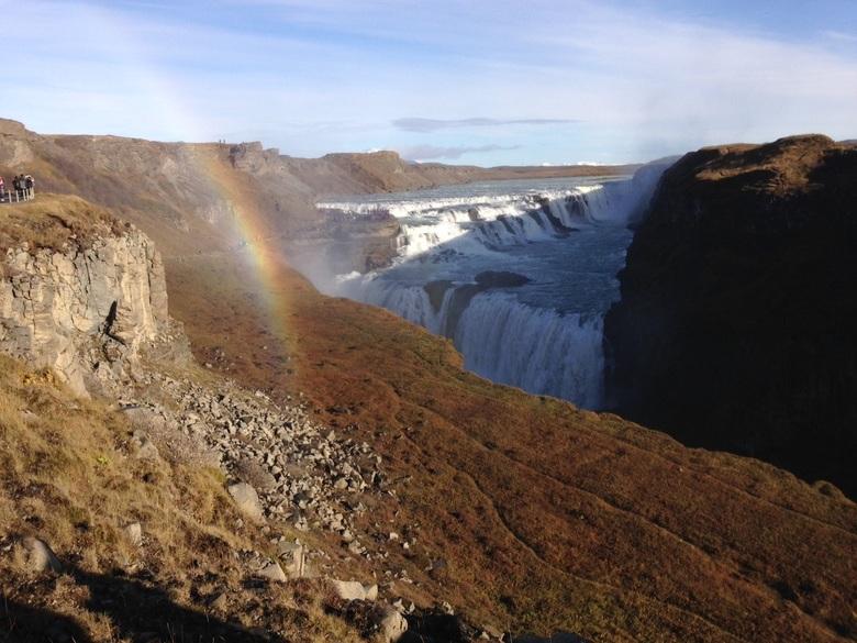 Gulfoss waterval met regenboog, in het zuidelijk deel van IJsland -