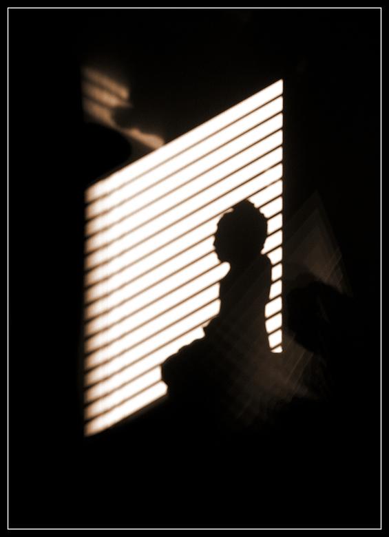 Schaduw - Gekluisterd aan huis door griep, toch maar wat foto's maken. Fascinerend hoe de zon kunstwerken kan maken. Een schaduw van een Boedhabe