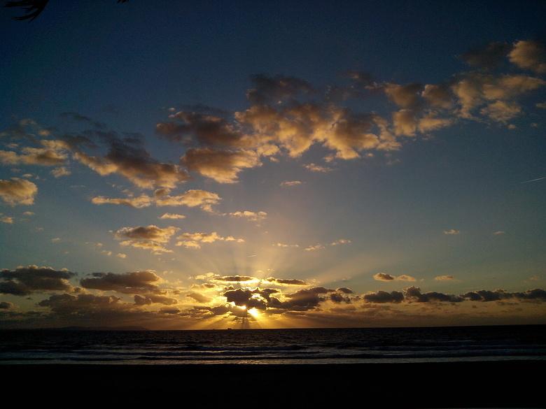 Tarifa Beach sunset - Atlantische oceaan, Zuid Spanje<br /> Tarifa.